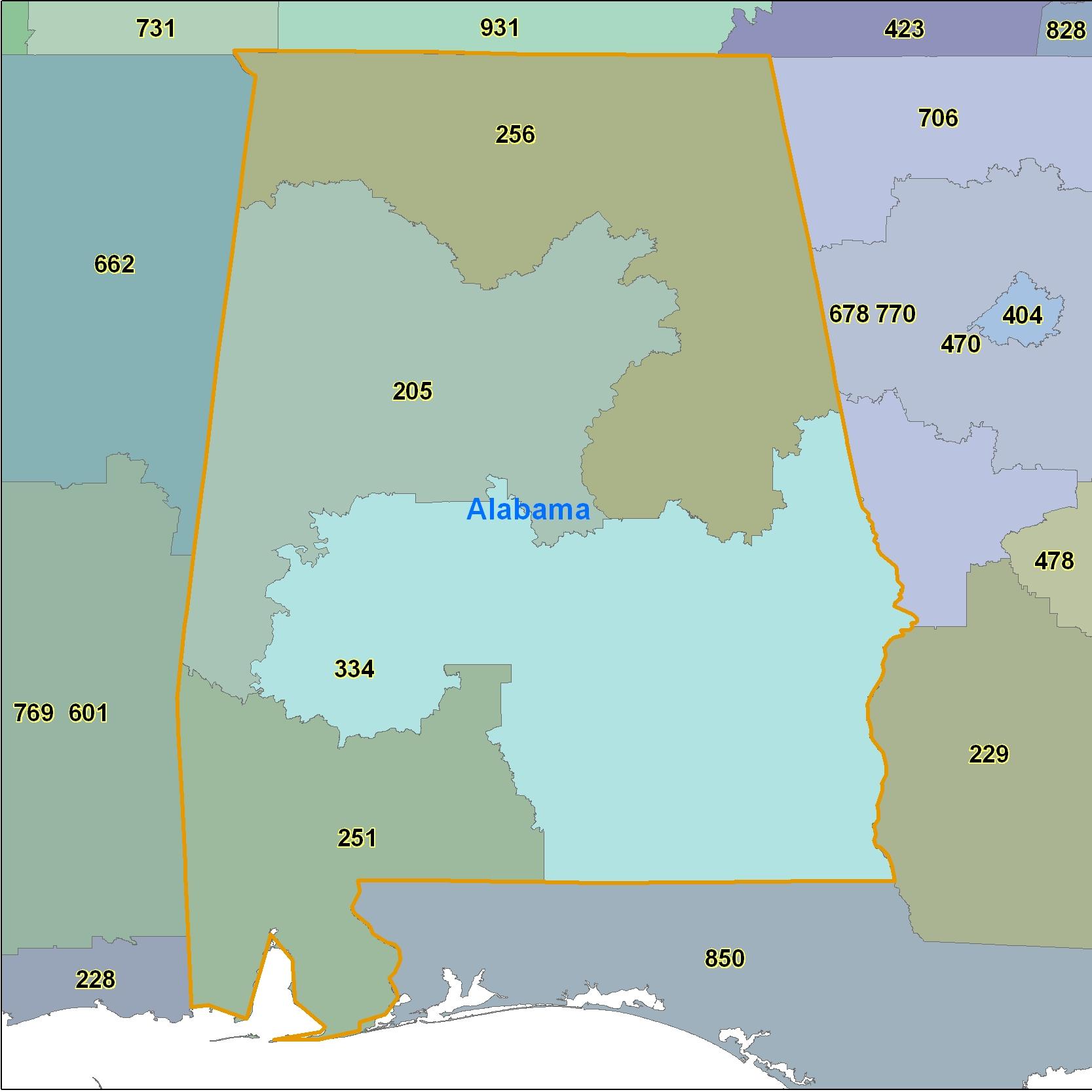 Alabama Area Code Maps -Alabama Telephone Area Code Maps- Free ...