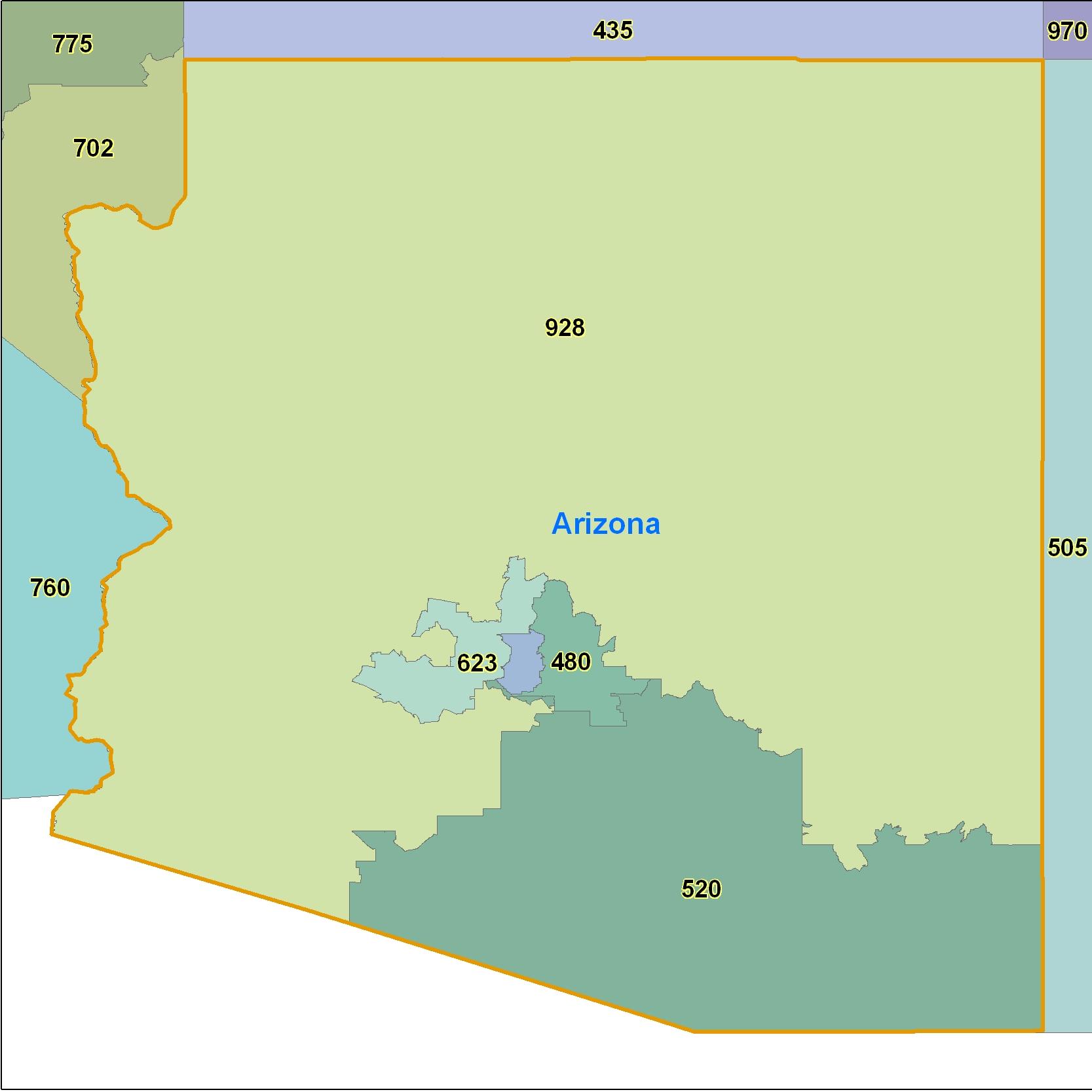 Arizona Area Code Maps Arizona Telephone Area Code Maps Free - 435 area code