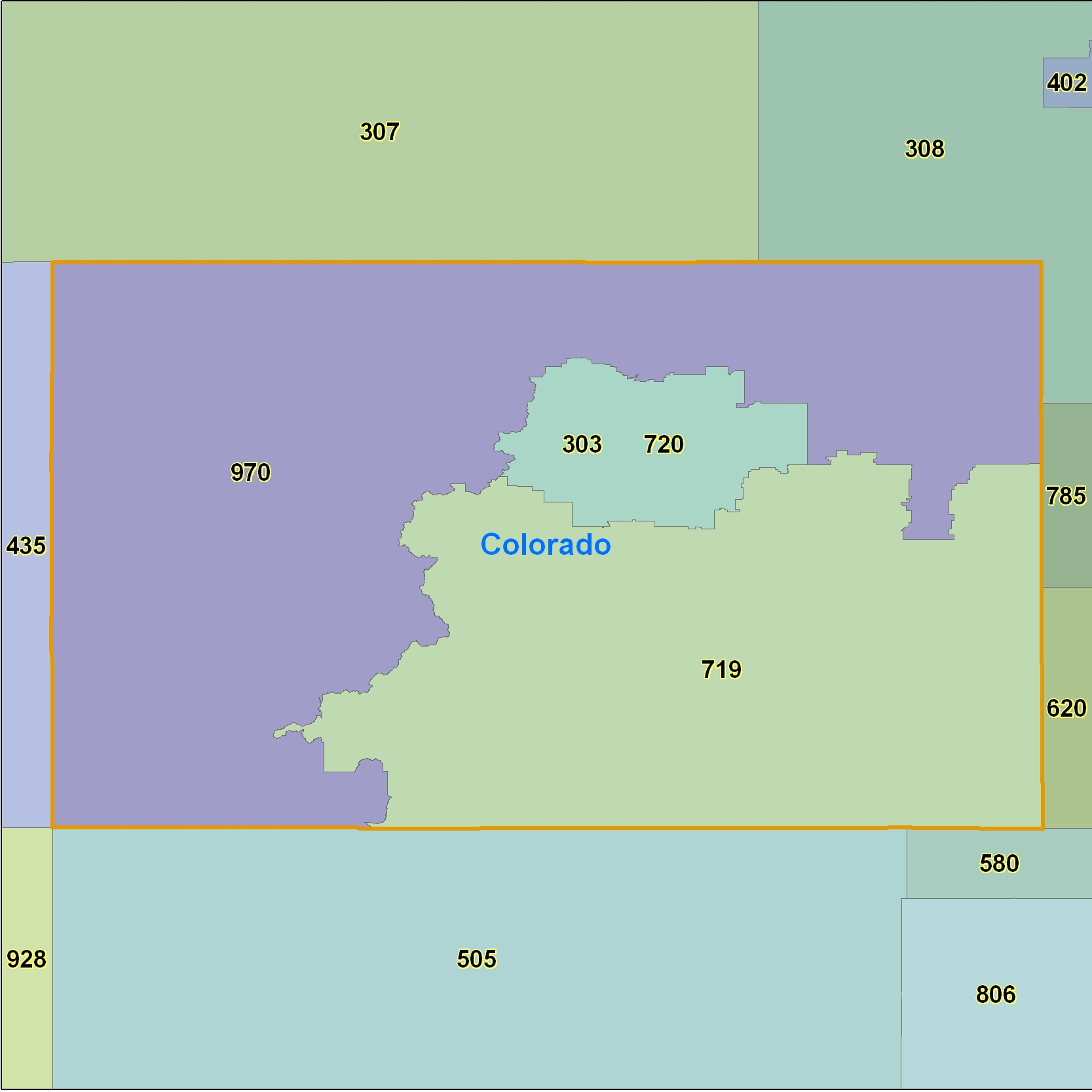 Colorado Area Code Maps Colorado Telephone Area Code Maps Free