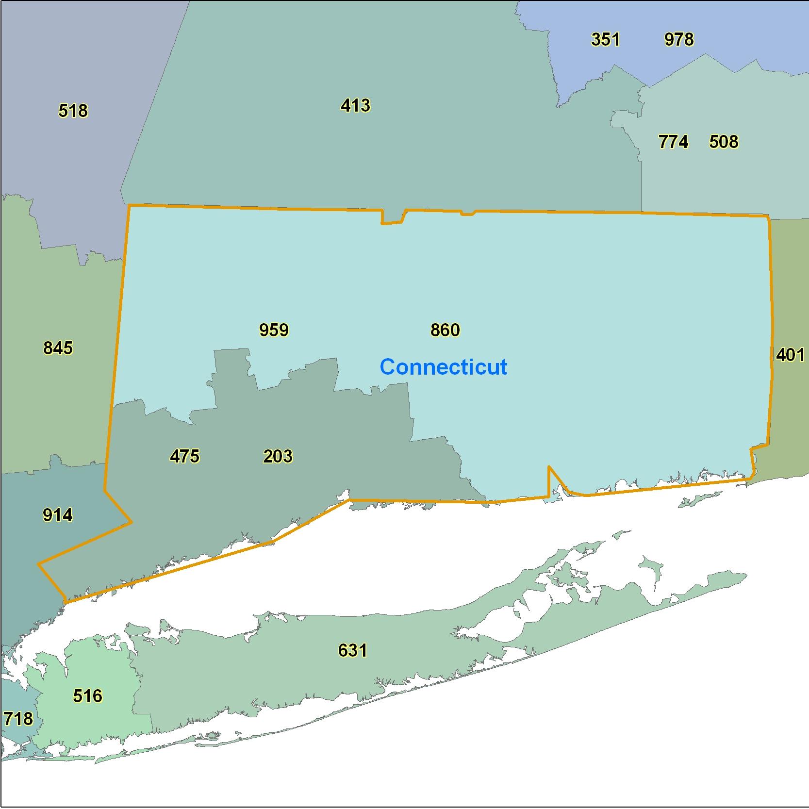 connecticut area code map Connecticut Area Code Maps Connecticut Telephone Area Code Maps connecticut area code map
