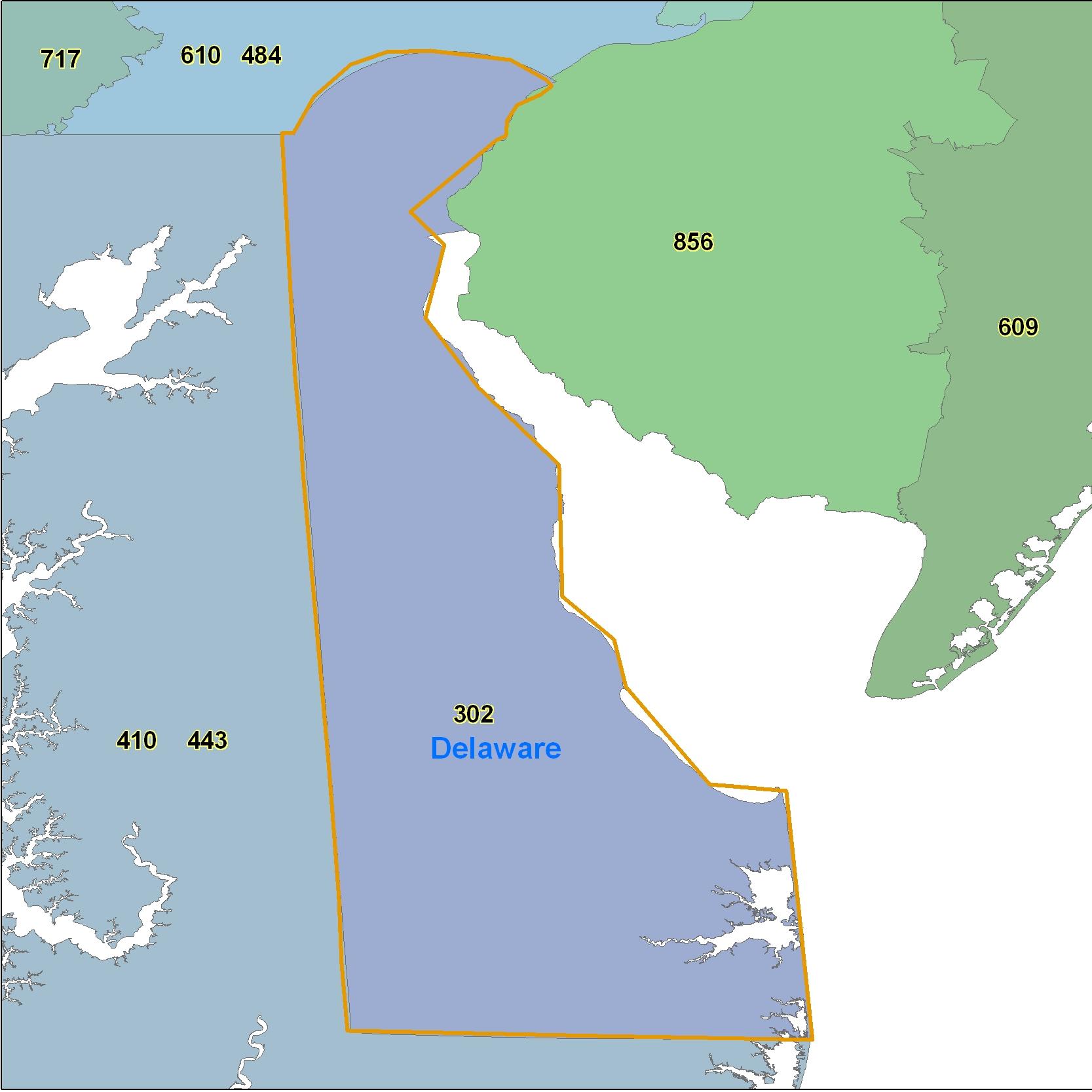 Delaware Area Code Maps Delaware Telephone Area Code Maps Free - Area code 302 map