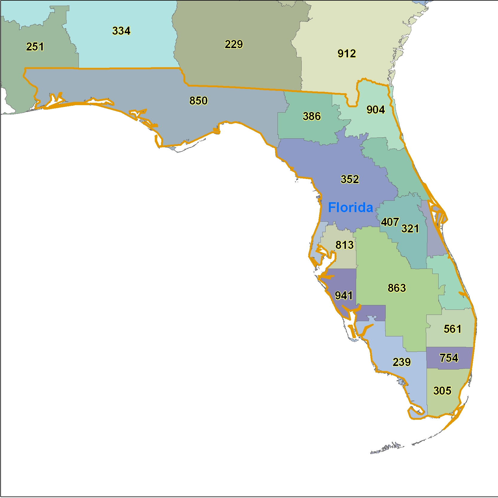 Florida Area Code Maps -Florida Telephone Area Code Maps- Free ...