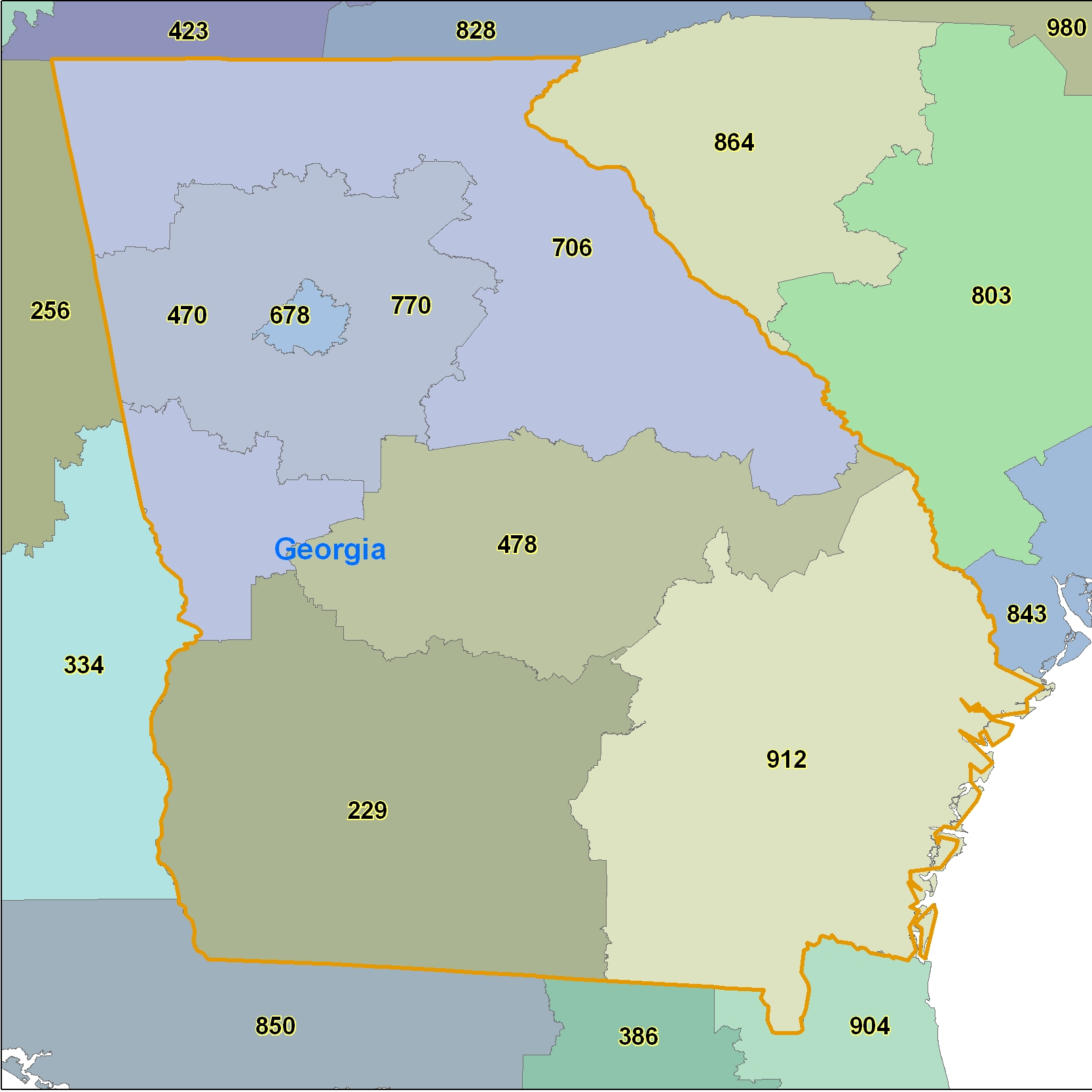 Georgia Area Code Maps Georgia Telephone Area Code Maps Free - Us telephone area codes map