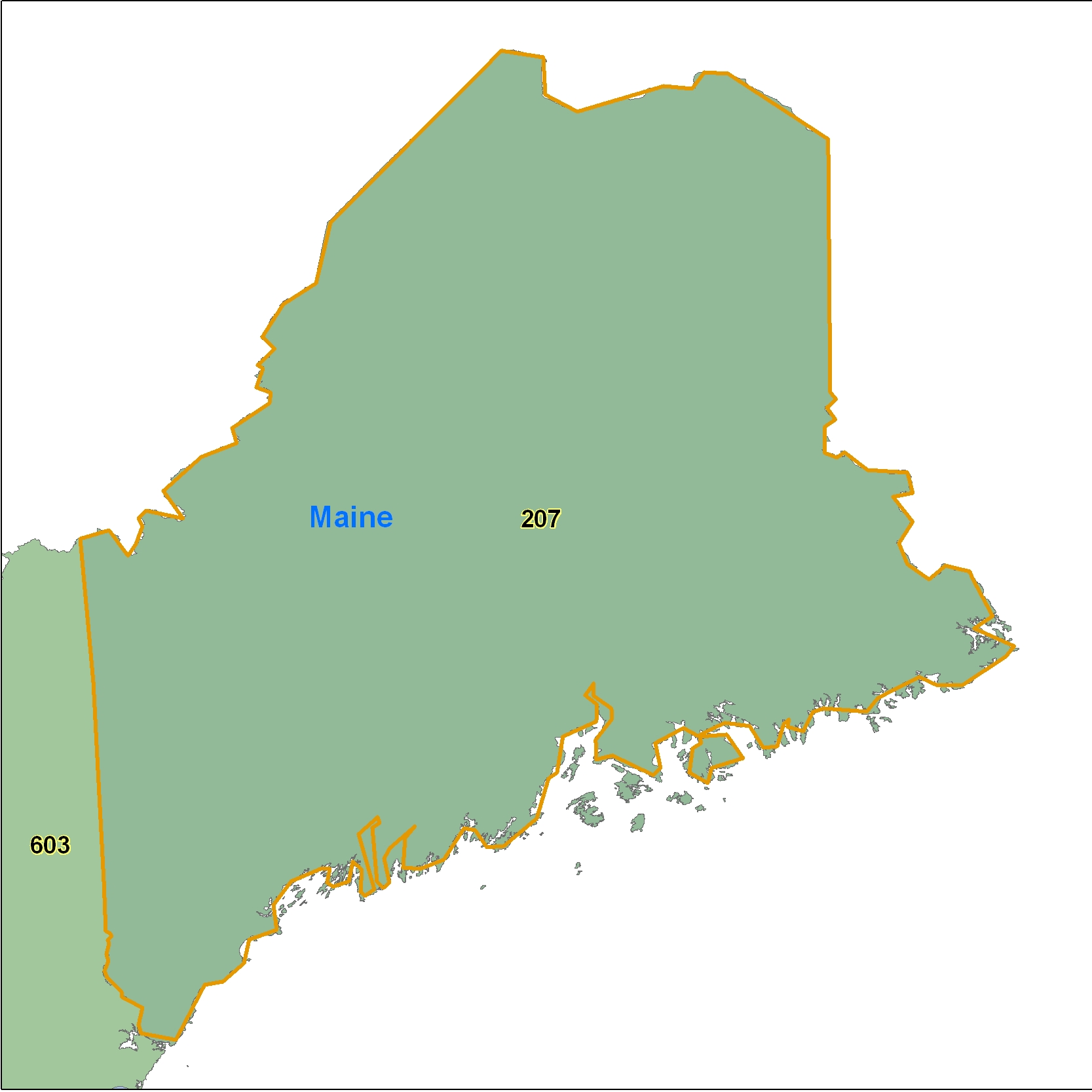 Maine (ME) Area Code Map