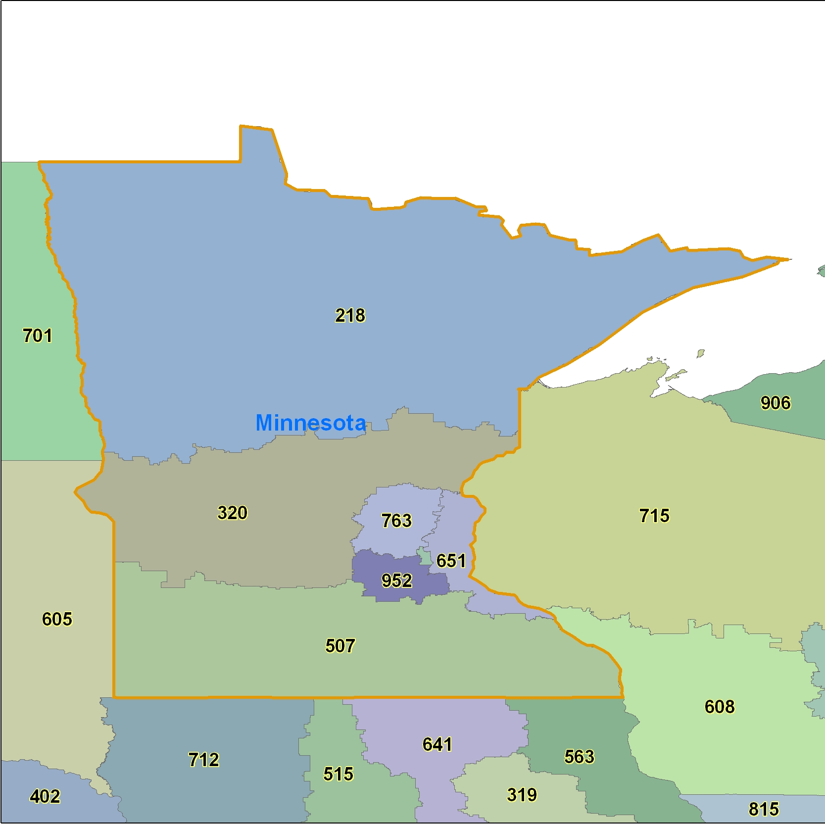Minnesota (MN) Area Code Map