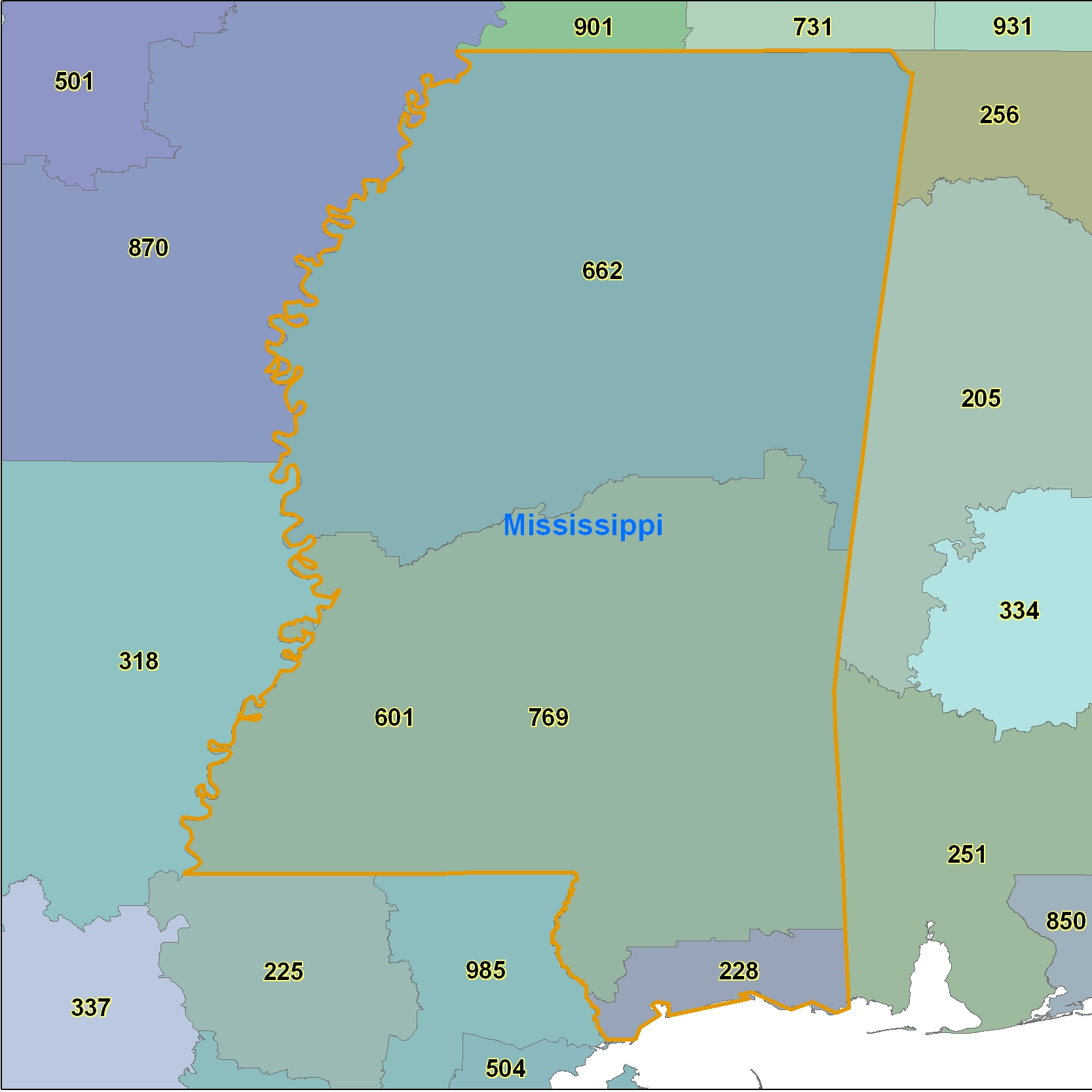 Mississippi Area Code Maps Mississippi Telephone Area