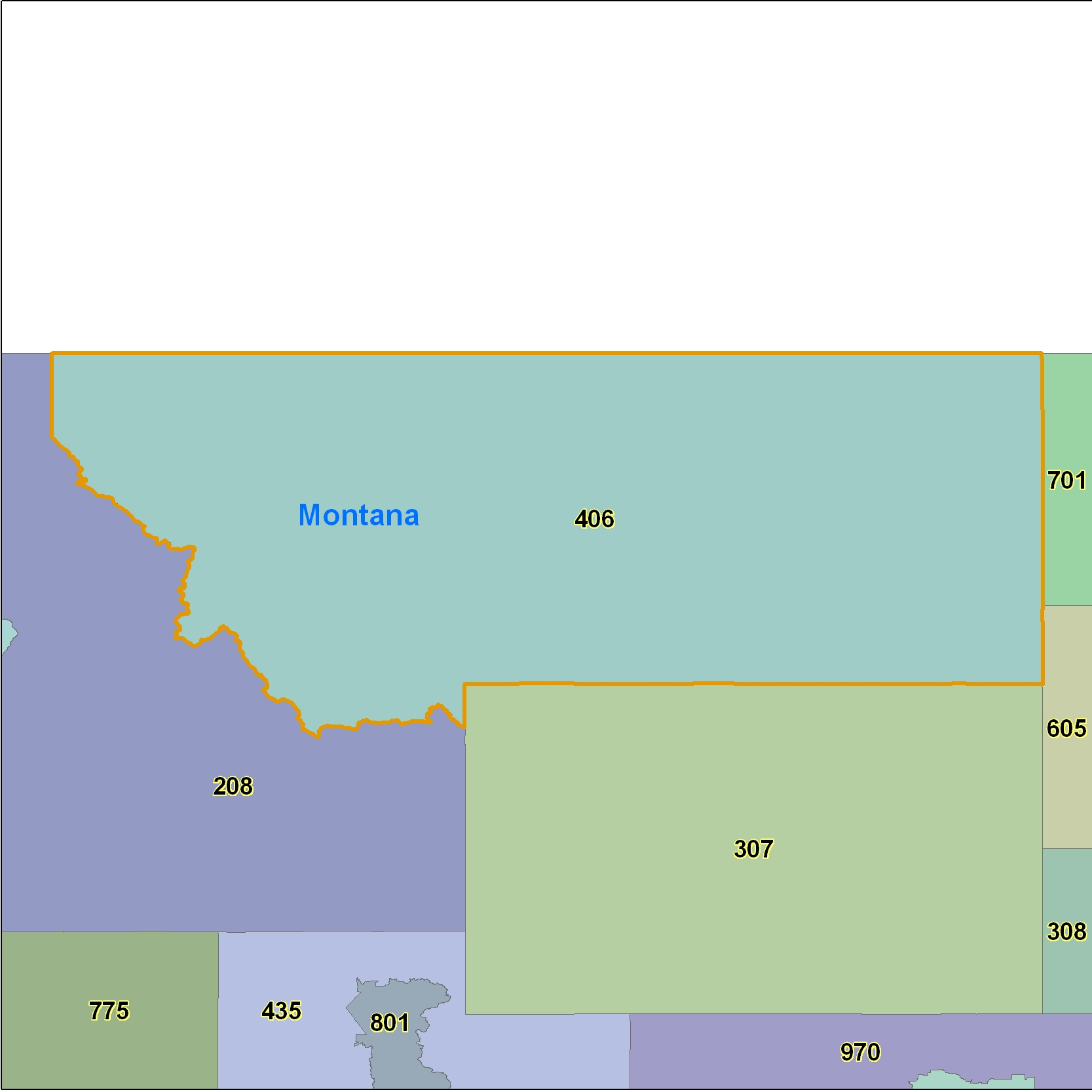 Montana (MT) Area Code Map