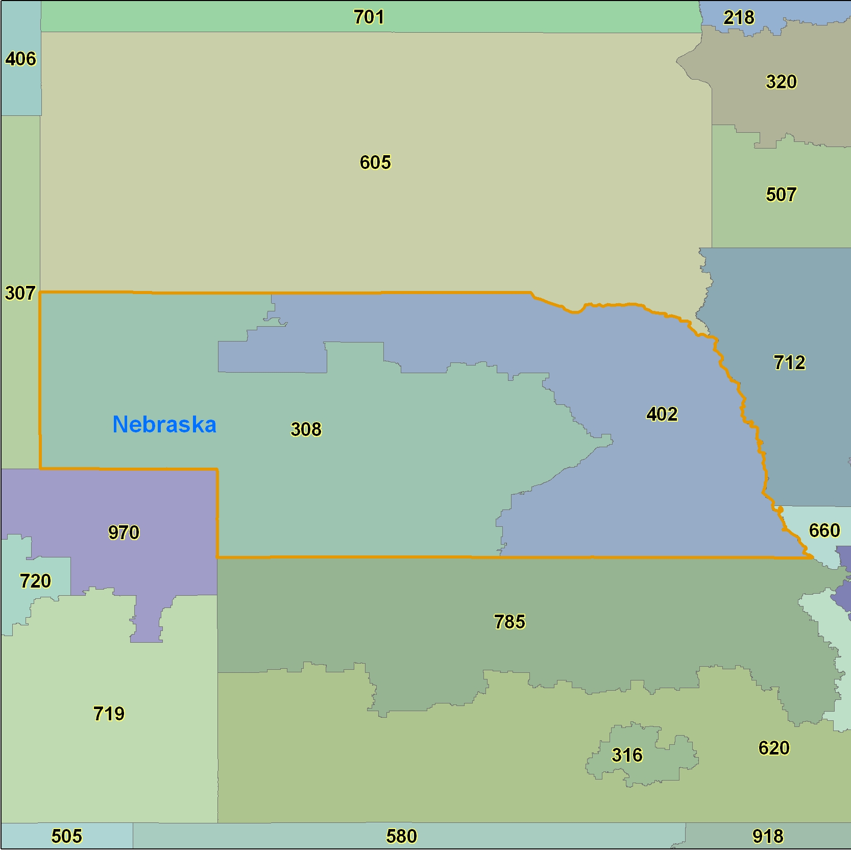 Free Nebraska Map.Nebraska Area Code Maps Nebraska Telephone Area Code Maps Free