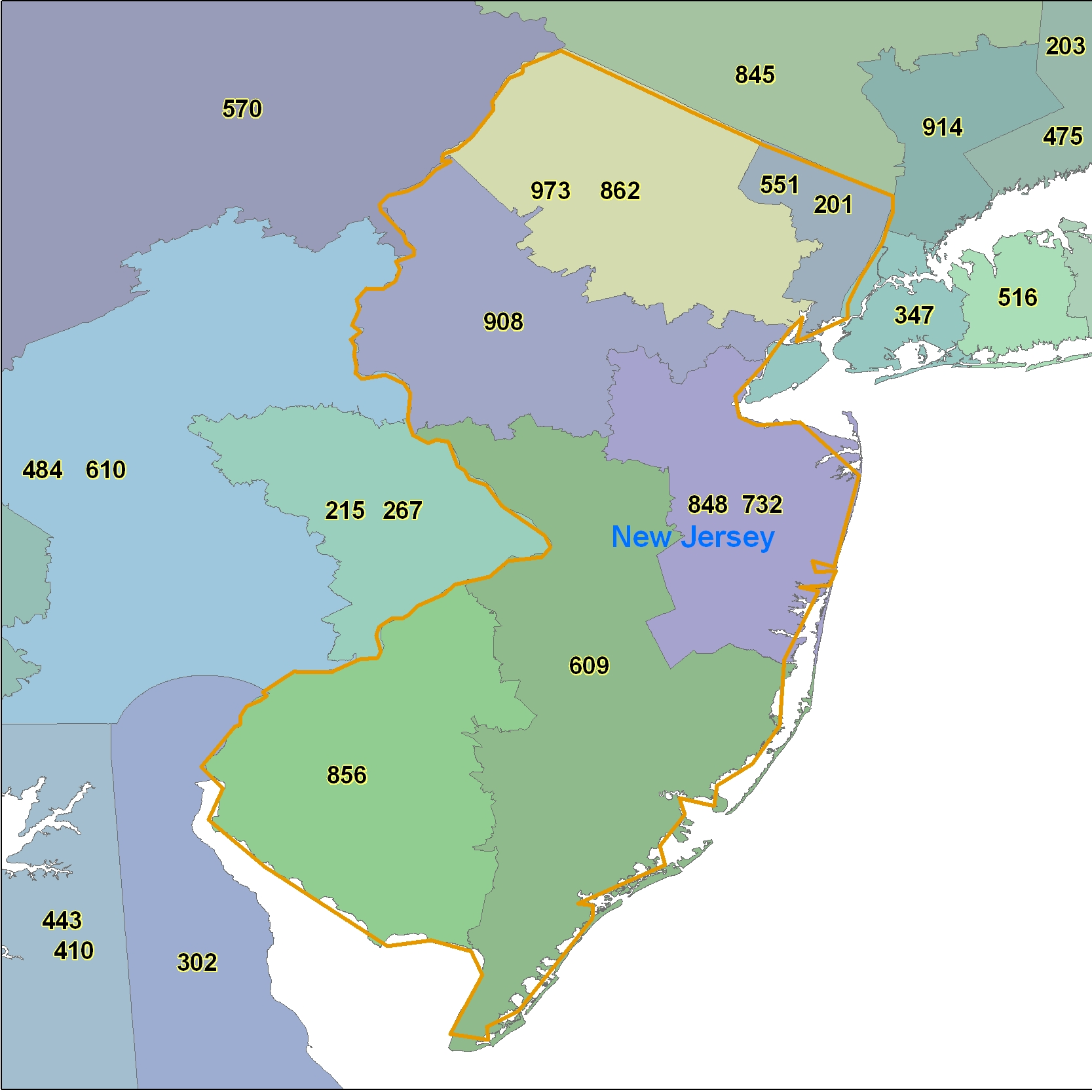 New Jersey Area Code Maps -New Jersey Telephone Area Code Maps- Free ...
