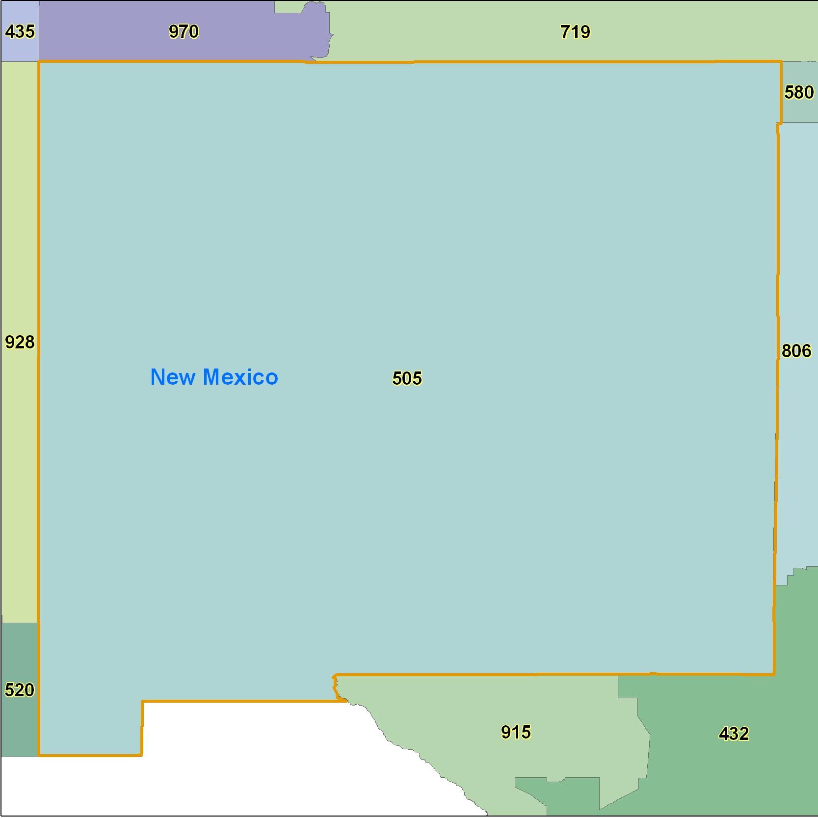 New Mexico Area Code Maps New Mexico Telephone Area Code Maps - 435 area code