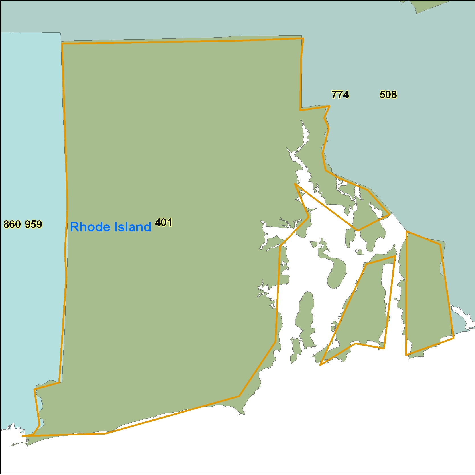 Rhode Island (RI) Area Code Map