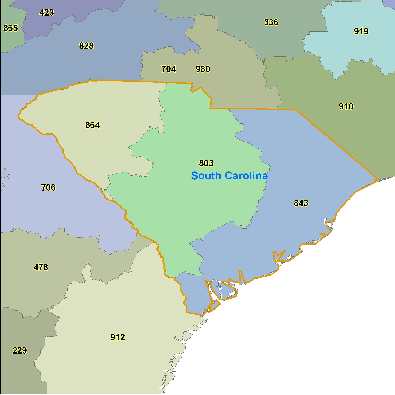 South Carolina Area Code Maps -South Carolina Telephone Area Code ...