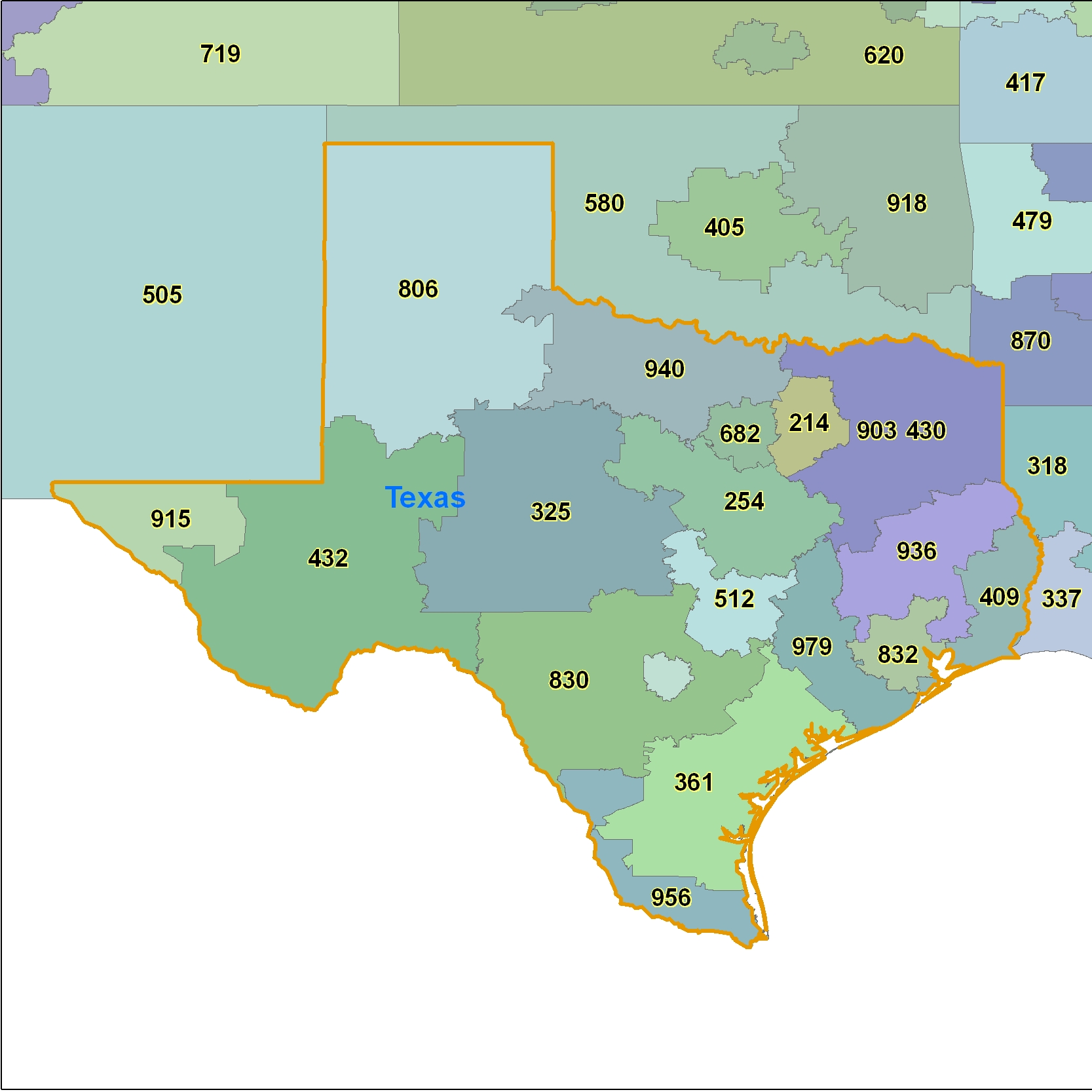 Texas Area Code Maps -Texas Telephone Area Code Maps- Free Texas ...