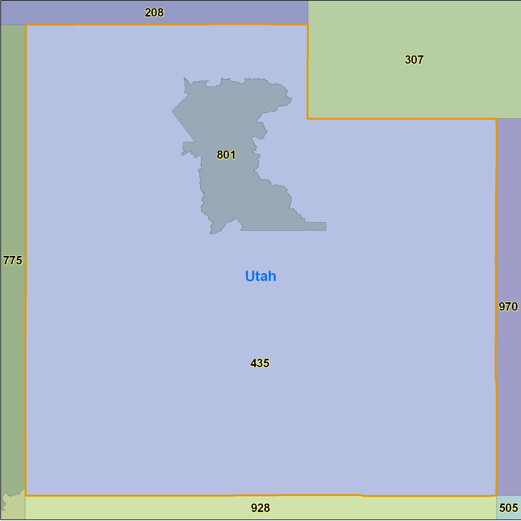 Utah Area Code Maps Utah Telephone Area Code Maps Free Utah Area - 435 area code