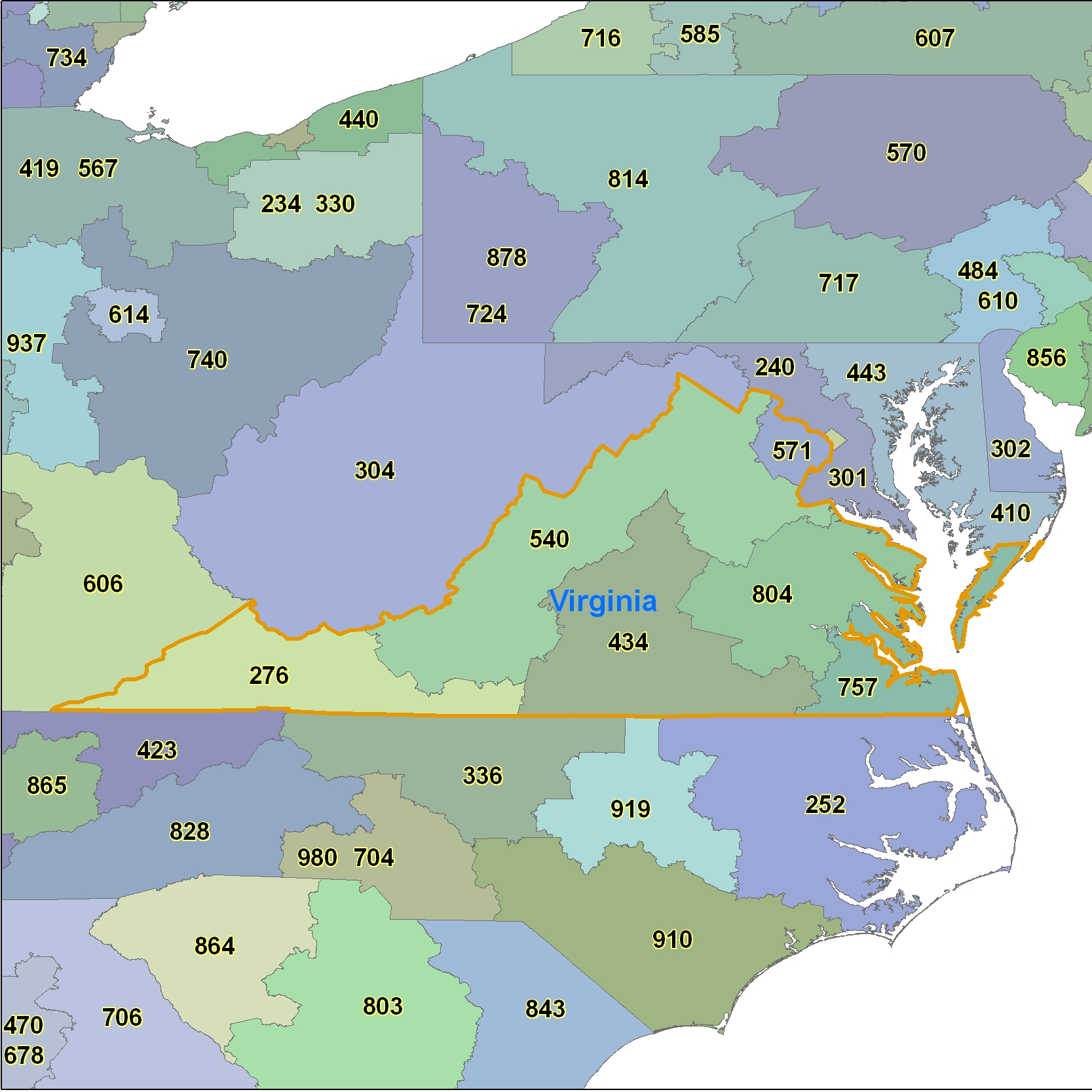 Virginia Area Code Maps -Virginia Telephone Area Code Maps- Free ...