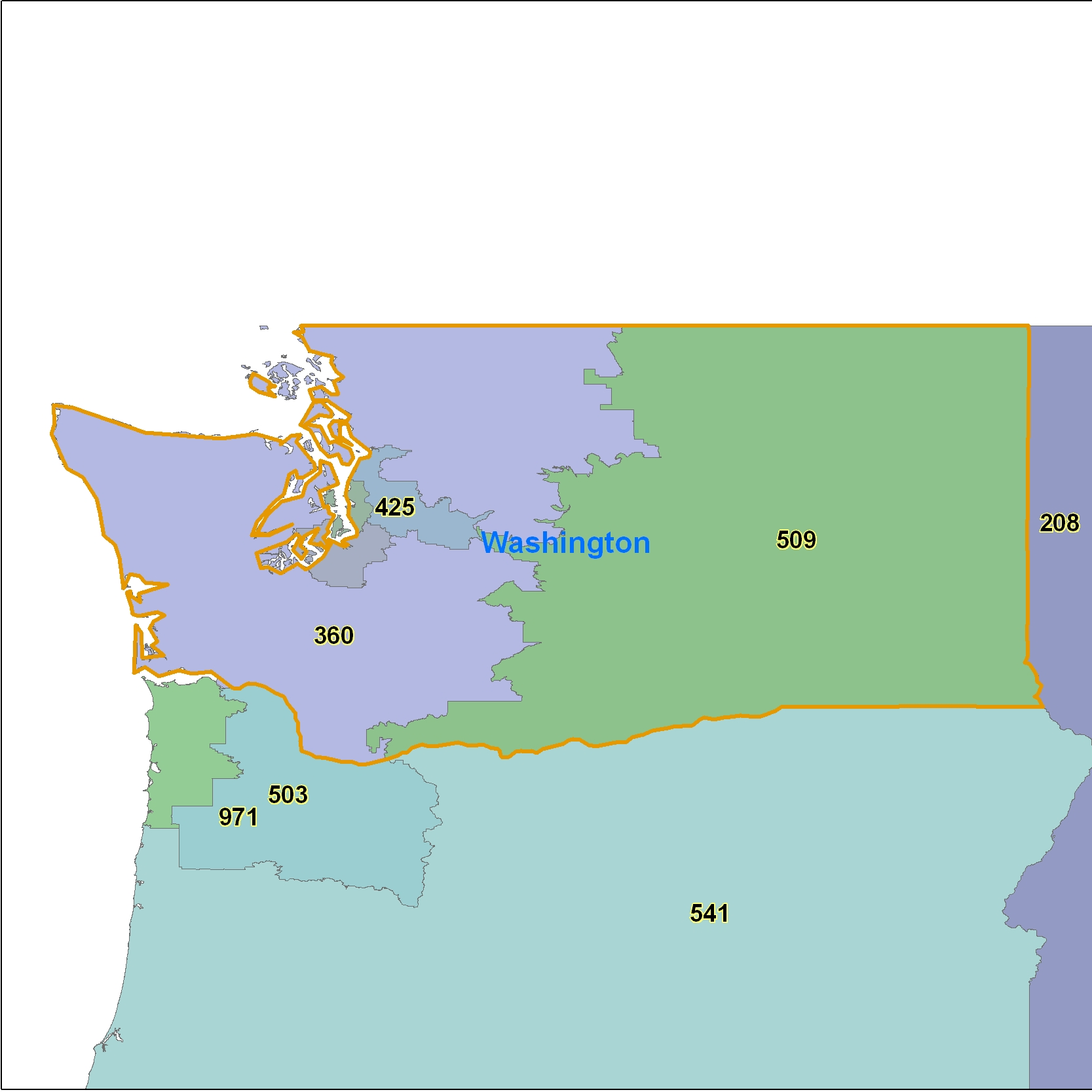 Washington Area Code Maps Washington Telephone Area Code Maps Free