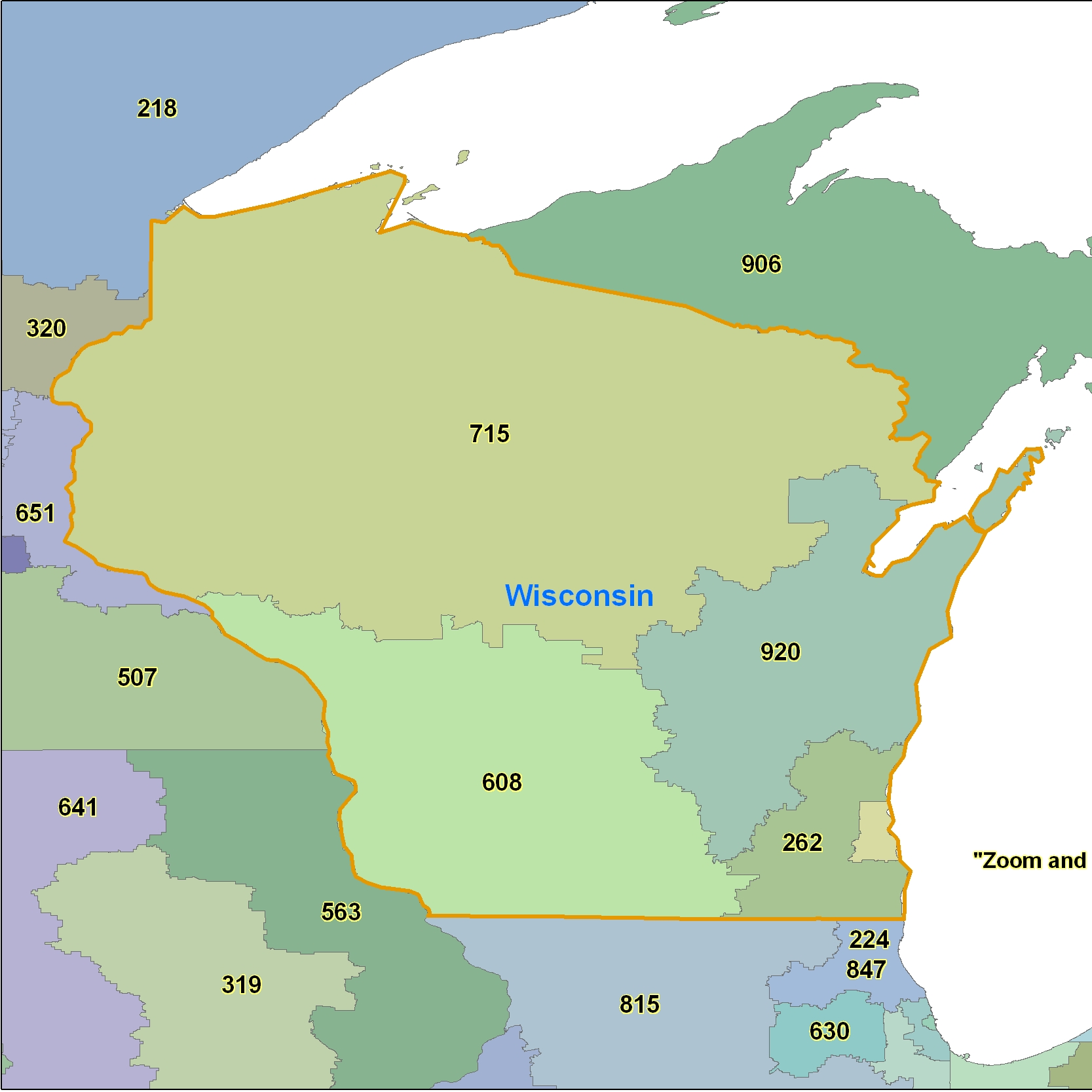 Wisconsin Area Code Maps -Wisconsin Telephone Area Code Maps- Free ...