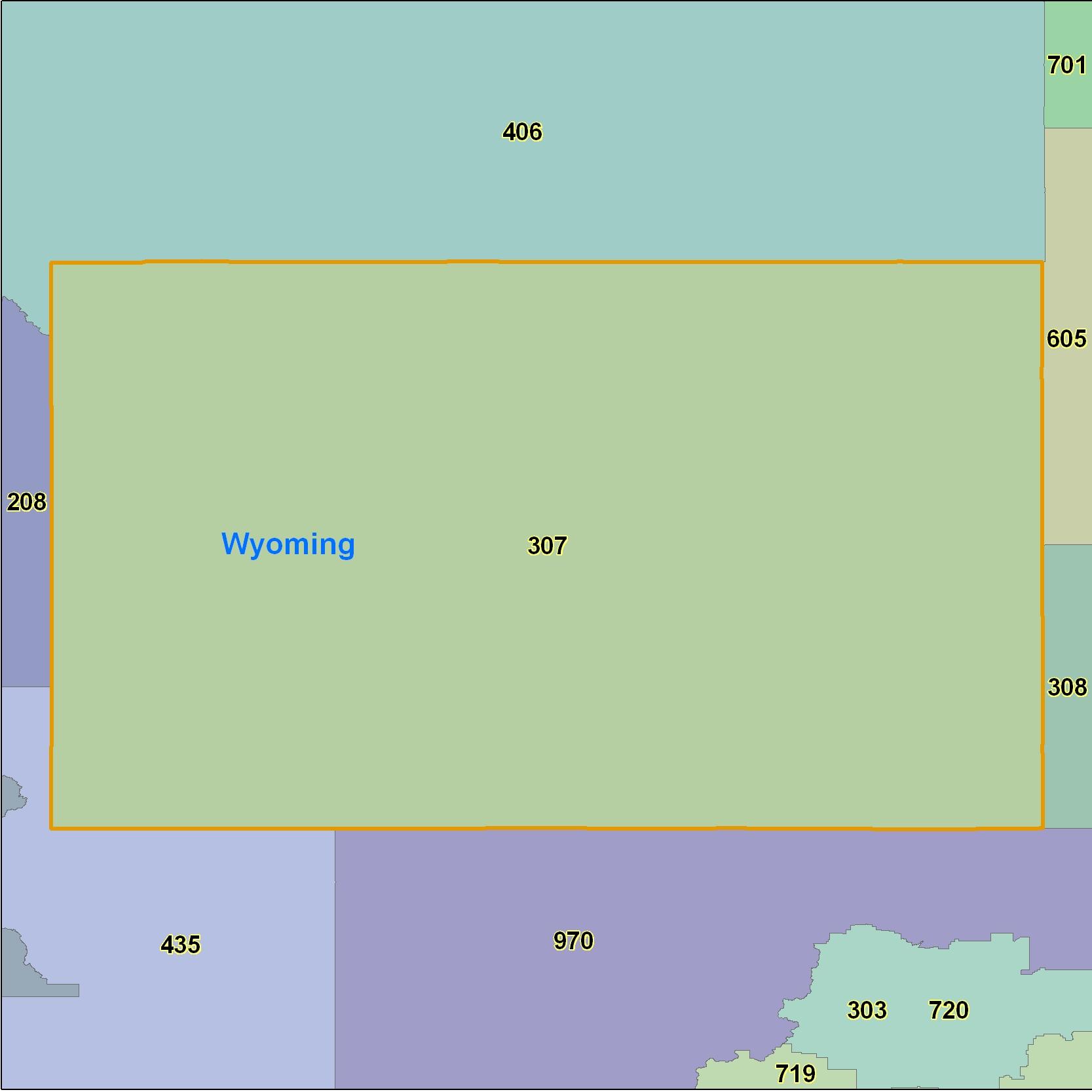 Wyoming Area Code Maps Wyoming Telephone Area Code Maps