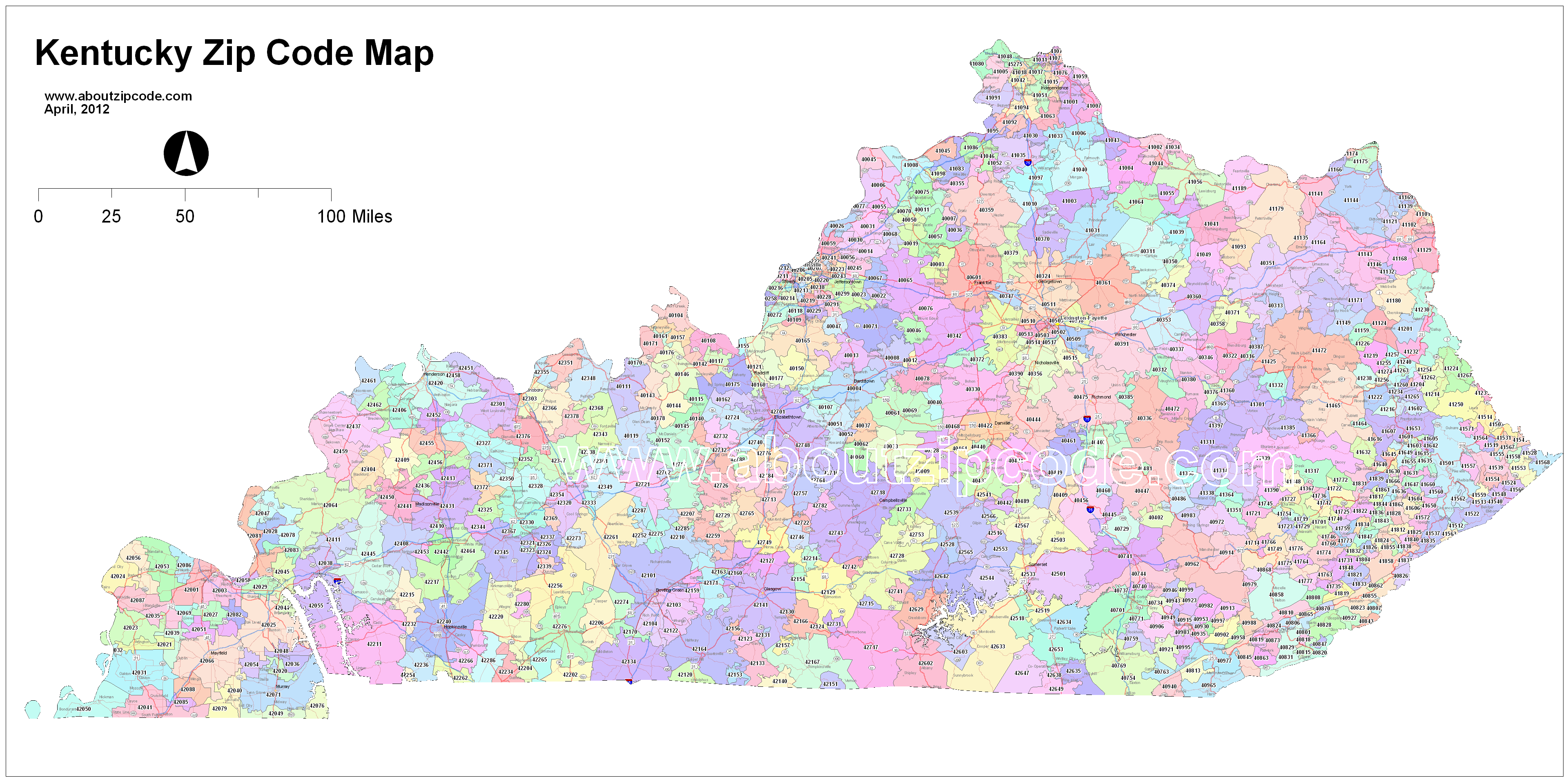 Kentucky Zip Code Maps   Free Kentucky Zip Code Maps
