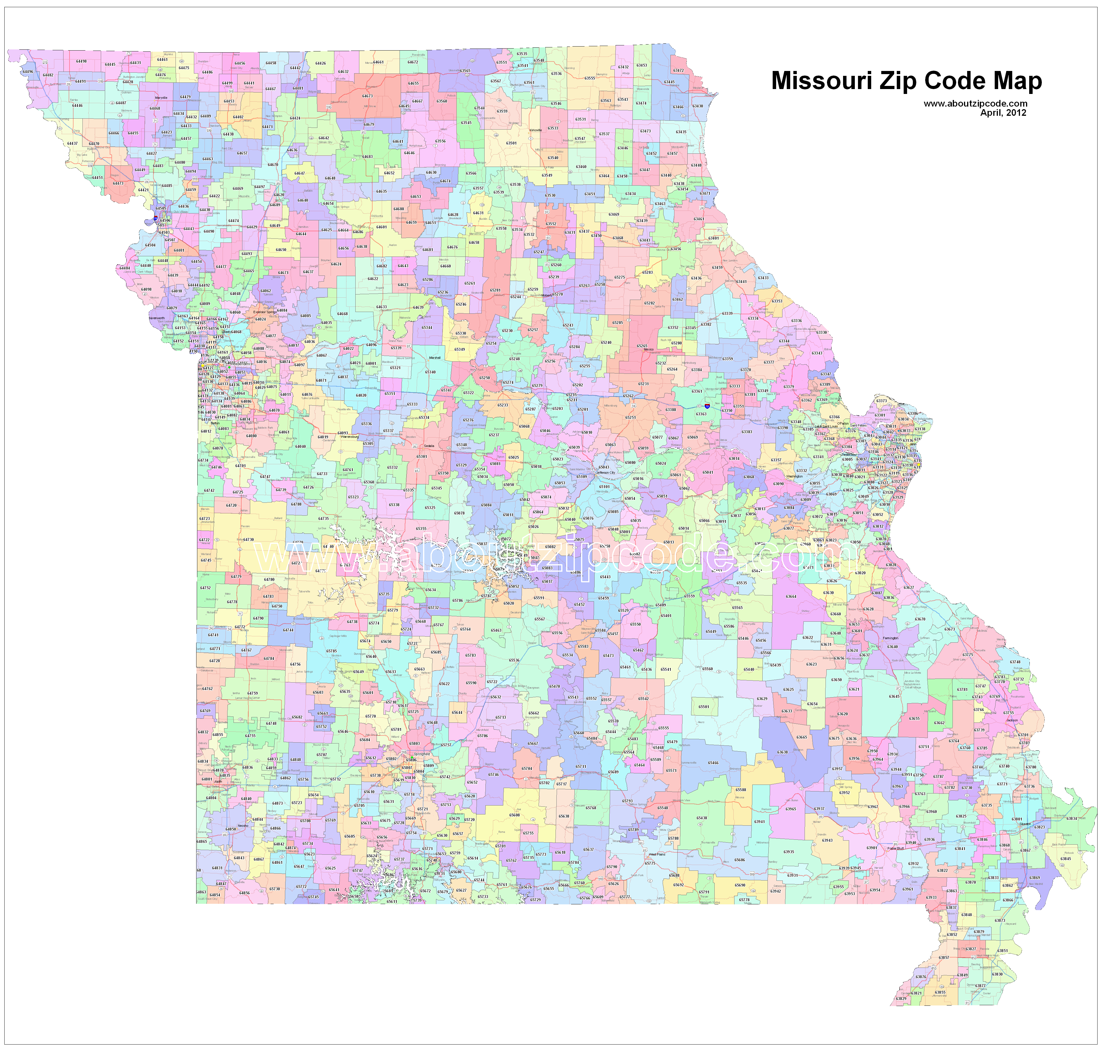 Missouri Zip Code Maps   Free Missouri Zip Code Maps