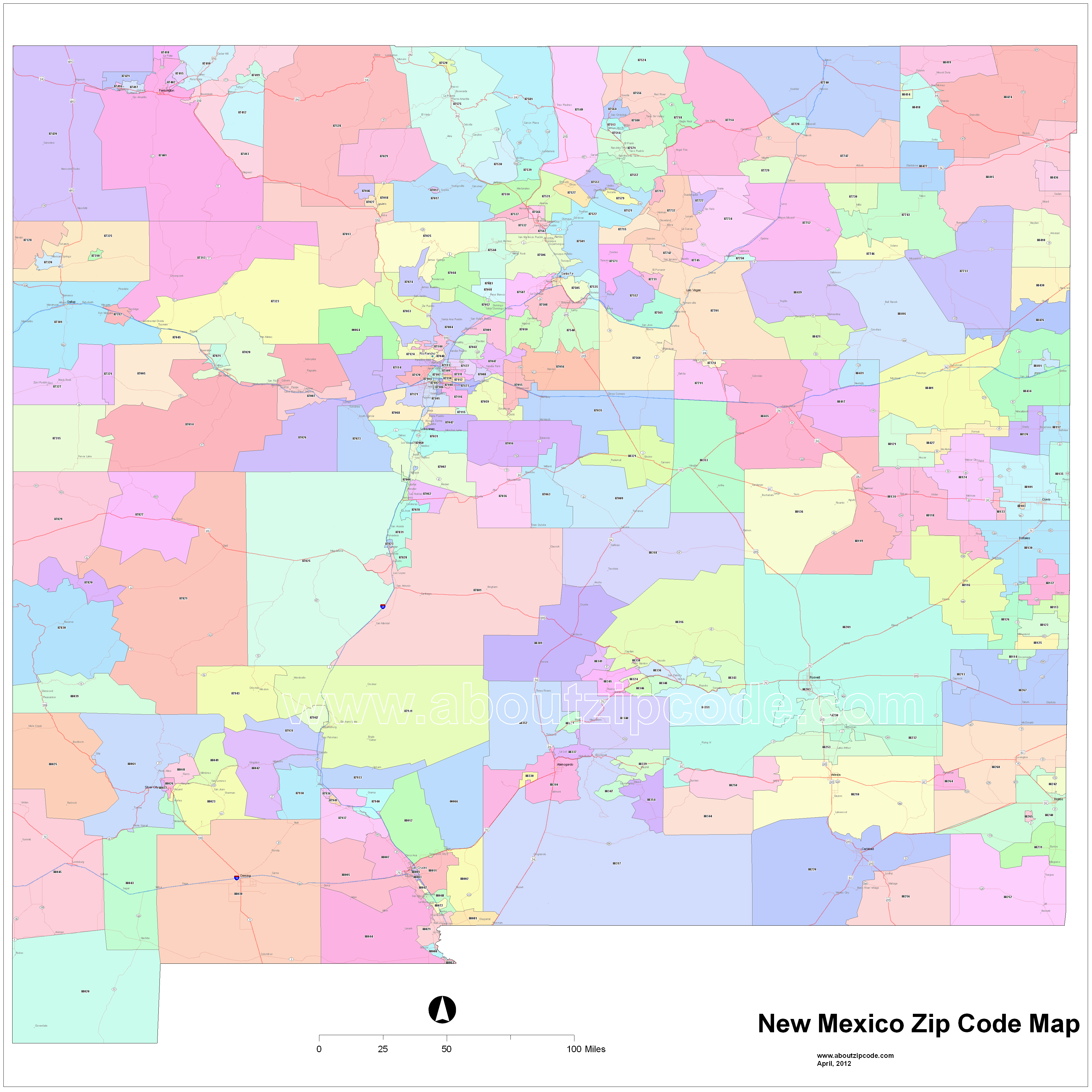 New Mexico Zip Code Maps Free New Mexico Zip Code Maps - New mexico map with cities