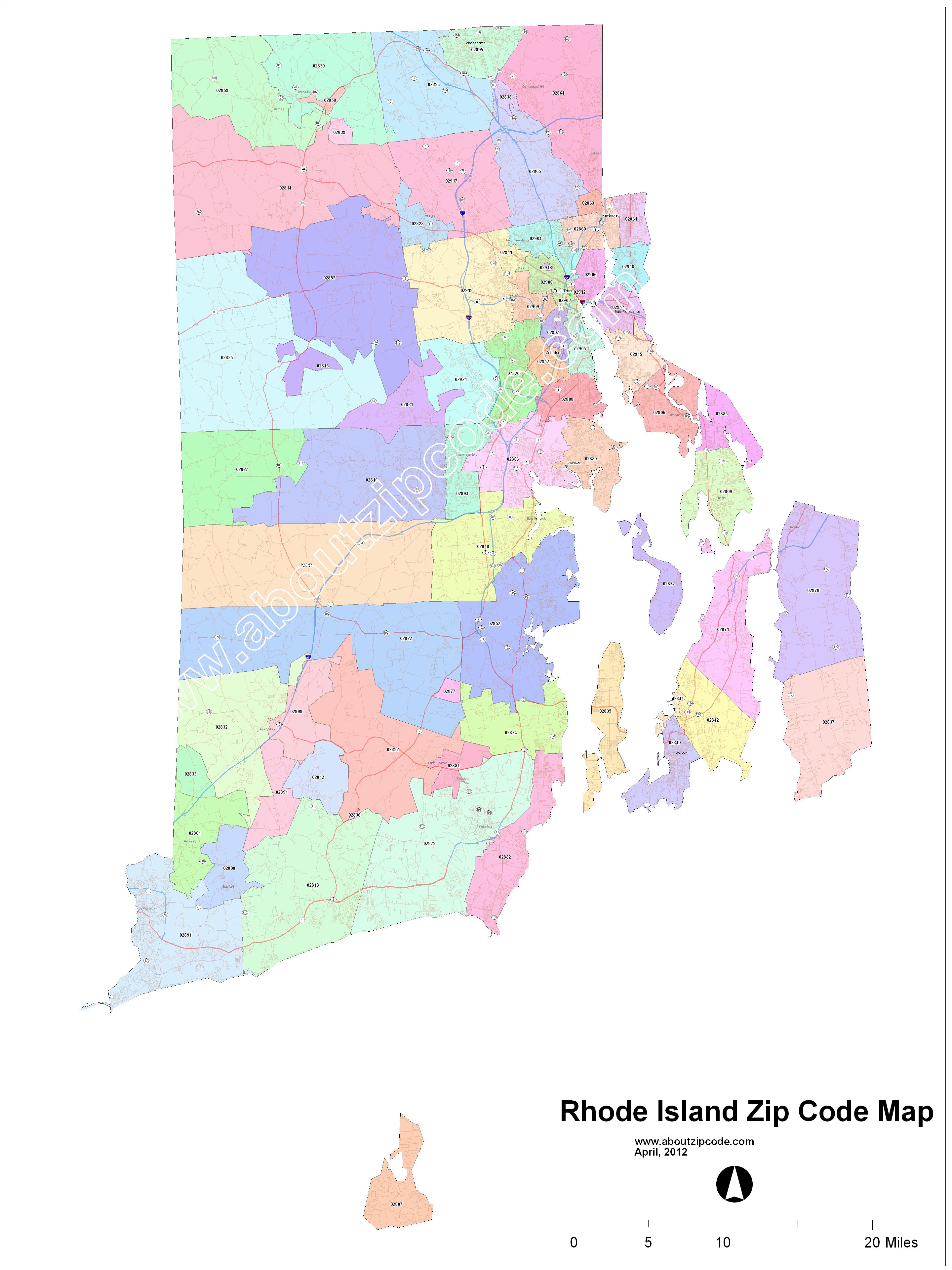 Rhode Island Zip Code Maps - Free Rhode Island Zip Code Maps on